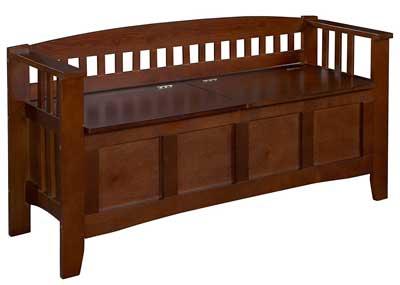 8 Linon Home Decor Storage Bench with Short Split Seat Storage, Walnut