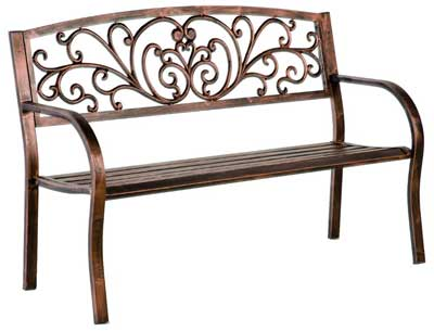 6. Plow and Hearth Patio Garden Bench Park Blooming Yard Outdoor Furniture with Iron Metal Frame