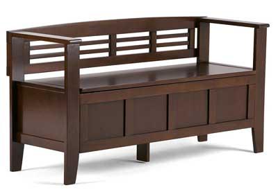 3 Simpli Home Adams Entryway Storage Bench, Medium Rustic Brown