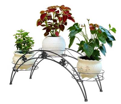 8. Dazone Arch Metal Potted plant Stand with 3 holders Potted